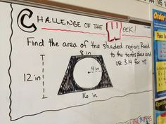 Math challenge of the week for grade math. A new challenge is posted every Monday and students have until the end of the day Thursday to try it. This is for middle school math, but the idea is applicable to any content area or grade level! Math 8, Free Math, Math Teacher, Math Classroom, Teaching Math, Classroom Ideas, Teaching Aids, Math Fractions, Classroom Inspiration