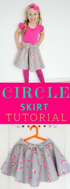 CIRCLE SKIRT WITH ELASTIC WAIST SEWING TUTORIAL - Do you love the look of those twirly full circle skirts? Here's how to make a circle skirt for yourself or your little girl, without having to insert a zipper.   #circleskirt #skirttutorial #circleskirttutorial