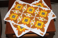 Vintage RETRO 1970's Placemats-Flower power - set of 4 by VintageCollateral on Etsy