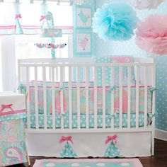 The Pixie Baby in Aqua crib set by My Baby Sam is the perfect choice for your little girl's bedding. With feminine mixes of blue and pink and three different patterns, this bedding set is the elegant way to keep your little princess sleeping in style.