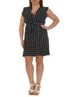 Plus Size Buttoned Polka Dot Dress