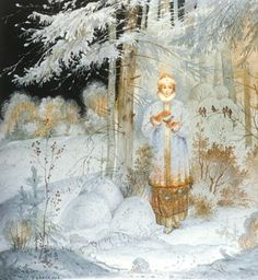 "Illustration to the Russian folklore tail ""Morozko"" (Jack Frost). Click the image to read more! Art Magique, Russian Folk Art, Fairytale Art, Children's Book Illustration, Book Illustrations, All Nature, Jack Frost, Fantasy Art, Fairy Tales"
