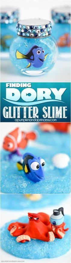 Finding Dory Glitter Slime - create this easy glitter slime recipe as a Finding Dory party favor or summer boredom-buster idea for kids!