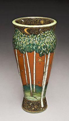 This is *insane* right? Terri Kern Studios: Recent Work Glass Ceramic, Ceramic Decor, Ceramic Clay, Ceramic Painting, Pottery Painting, Ceramic Bowls, Pottery Vase, Ceramic Pottery, Slab Pottery