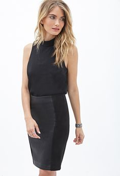 Black Faux Leather Paneled Skirt   FOREVER 21 - 2000119186 $18