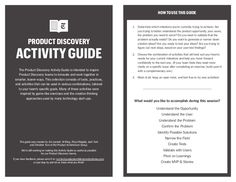 Product discovery activity guide by Al Ming