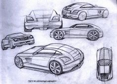 Last year, Chrysler turned heads with the introduction of Chrysler Crossfire. This year, Chrysler will turn heads and drop jaws with the introduction of it. Chrysler Crossfire, Cabriolet, Car Drawings, Mopar, Concept Cars, Sketches, Black Work, Design, Inspired