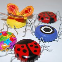 Bugs or Whatevers! ~ I am not making legs. Need: rinsed Bottle Tops from soft drink or beer bottles, Small Magnets (to fit in the back of the bottletops), Acrylic Paint & Spray Paint, Small Paintbrush, Pencil, Permanent Marker, Glue Gun