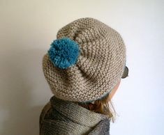 Womens Hand Knitted Pom Pom Beret, Slouchy Hat in Neural Beige Teal, Winter Hat,Knit Hat on Etsy, $35.00
