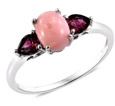 natural Pink Opal and Garnet  Ring 2.00 carats Size 7 #Unbranded #SolitairewithAccents