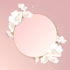 Round cherry blossom frame vector | premium image by rawpixel.com