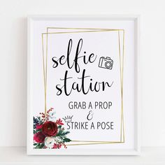 Setting up a bridal shower photo booth? Display this fun selfie station sign to encourage guests to grab a prop and strike a pose!