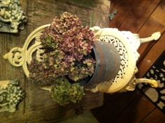 Dried these hydrangeas from yard and placed in old bait bucket.