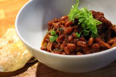 Pressure cooked baked beans with amazing 24 hour flatbread