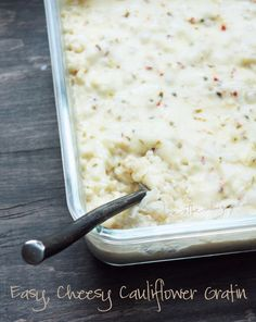 Easy Cheesy Cauliflower Gratin (low carb and gluten free) from ibreatheimhungry.com