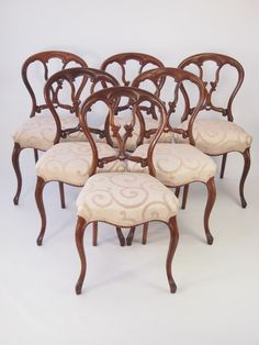 Set 6 Victorian Rosewood Balloon Back Dining Chairs
