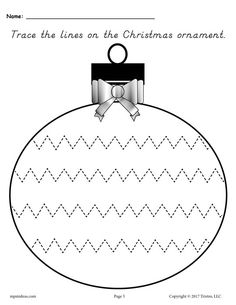 FREE Printable Christmas Ornament Tracing Worksheet With Narrow Zig Zag Lines! These 5 tracing worksheets are great for preschoolers and kindergartners. Get all five tracing printables here --> www. Christmas Dyi Crafts, Printable Christmas Ornaments, Christmas Activities For Kids, Christmas Frames, Christmas Art, Christmas 2017, Fun Activities, Line Tracing Worksheets, Preschool Worksheets