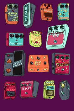 Guitar Pedals Illustrated by Kitt Byrne  #illustrated #illustration #cool #cute #guitar #pedals #guitarpedal #music #rock #fuzz #effects #fx #pattern