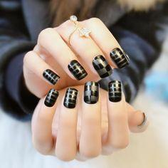 Delicate Black Plaid Dull Polish Nail Art  ==