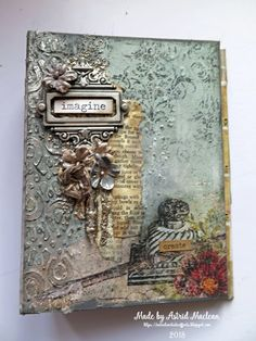 Cover for techniques journal made for February challenge Mixed Media Journal, Mixed Media Canvas, Mixed Media Collage, Altered Canvas, Altered Books, Altered Tins, Mix Media, Mini Albums, Arts And Crafts