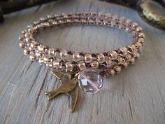 Bird crochet wrap bracelet necklace - In Flight at Dawn - metallic gold versatile wrap jewelry sparrow bird boho neutral by slashKnots