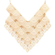 Inspired by ancient Egyptian jewelry, this luxurious gold statement necklace is a must-have! Sport the lightweight Tabitha necklace with mixed metal chains for a layered look.