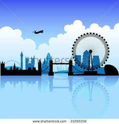 London skyline silhouette on a bright partly cloudy day - stock vector