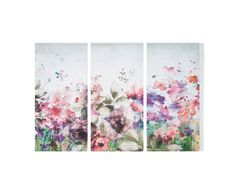 Watercolour floral Pink Wall art - B&Q for all your home and garden supplies and advice on all the latest DIY trends Pink Wall Art, Pink Walls, Garden Supplies, Floral Watercolor, Floral Prints, Home And Garden, Tapestry, Retro, Printed