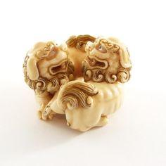 Mammoth Ivory Netsuke - Twin Chinese Lion