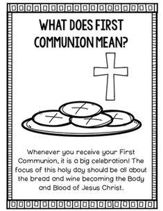 Eucharist {First Communion} Poster & Worksheets Catholic Religious Education, Catholic Catechism, Catholic Religion, Catholic Kids, Ccd Activities, Religion Activities, Teaching Religion, Communion Prayer, Catholic Communion