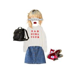 """""""Sad Girl Club"""" by xllix ❤ liked on Polyvore featuring Chicnova Fashion, Converse, modern and vintage"""