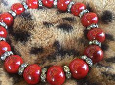 RED Bracelet Women's bling chunky stretch/ elegant by Ivanwerks