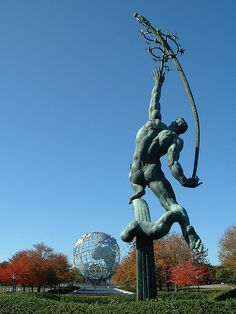 "Queens is underrated. It's awesome. ""Rocket Thrower"" in Flushing Meadows Corona Park, Queens, NY, USA."