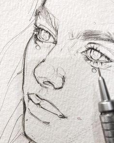Line art drawings anime sketch 31 Ideas Drawing People Faces, Drawing Faces, Drawing Drawing, Face Pencil Drawing, Female Drawing, Drawing Ideas, Pencil Drawings, Drawing Portraits, Drawing Hair