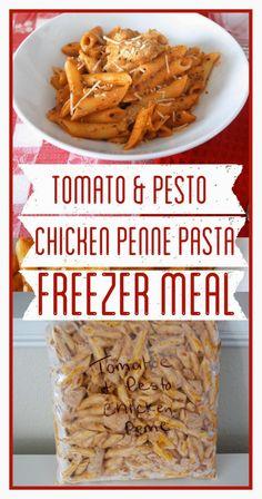 Tomato and Pesto Chicken Penne Pasta Freezer Meal www.BrightGreenDoor.com