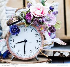 mixedmedia clock with Prima Marketing flowers