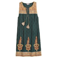 CALYPSO St. Barth Svila Embroidered Shift Dress (525 CAD) ❤ liked on Polyvore featuring dresses, dkseawd, embroidered dress, jacquard dress, print dress, embellished dresses and green summer dress