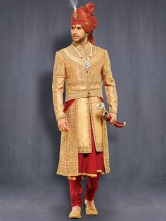 Wedding Golden Layered Chipkan/Mughal Style Sherwani   @ Looksgud.in…