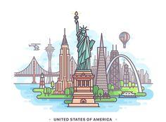332 Landmarks : 332 Landmarks on Behance Line Illustration, Graphic Design Illustration, Country Flags Icons, City Icon, Flag Icon, Ligne Claire, Insta Icon, Dibujos Cute, Travel Icon