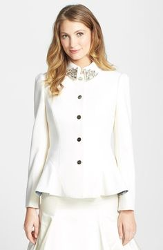 Ted Baker London 'Jodyn' Embellished Peplum Wool Blend Jacket available at #Nordstrom