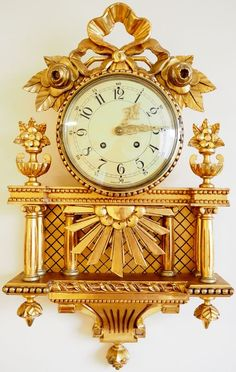 "Currently at the auctions: LARGE Swedish gold-plated hand carved wall clock ""EXACTA"" Gustavian style - E. Old Clocks, Antique Clocks, Harry Potter Clock, Classic Clocks, Louis Xvi, Home Decor Items, Wood Carving, Home Accessories, Hand Carved"