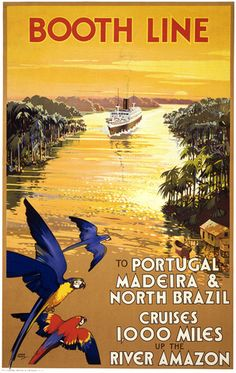 Booth Line. To Portugal, Madeira & North Brazil. Cruises 1000 Miles up the River Amazon. Illustrated by Walter Thomas. Liverpool Printing & Stationery Co. Ltd. Circa 1930s.