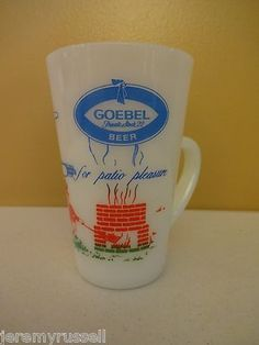 RARE Fire King Anchor Hocking Goebel Beer Advertising Patio Mug Cup Mint | eBay