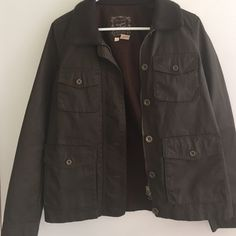 Memorial Day Sale! Dark brown cotton J.Cree utility coat - size small. In great condition - only worn a few times! J. Crew Jackets & Coats Utility Jackets