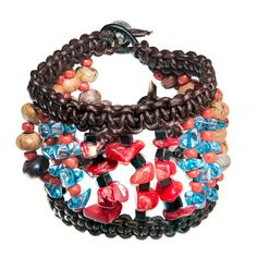 Brown leather bracelet with red coral and blue glass beads