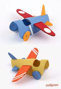 How to make a toilet roll plane, a simple and sweet handmade toy to take flight in the thrill-seeking hands of your little ones. Toilet roll crafts for kids. Kids Crafts, Toddler Crafts, Projects For Kids, Diy For Kids, Diy Projects, Easy Crafts, Toilet Roll Craft, Toilet Paper Roll Crafts, Cardboard Crafts