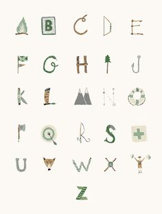 Woodsy Type Alphabet by Danielle Kroll for a boys room