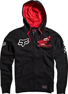 Honda Motorcycle Officially Licensed Fox Standard Men's Hoody Zip Casual Sweatshirt/Sweater, Black, X-Large Pullover, Zip Hoodie, Next Sportswear, Fox Racing Clothing, Hooded Sweatshirts, Gym Hoodies, Gym Men, Atv, Honda