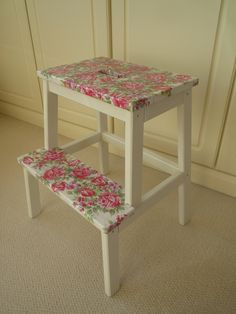 Ikea Bekvam Stool painted with Annie Sloan Original with decoupaged Cath Kidston Roses
