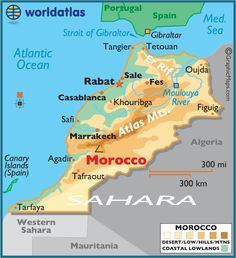 Morocco large color map